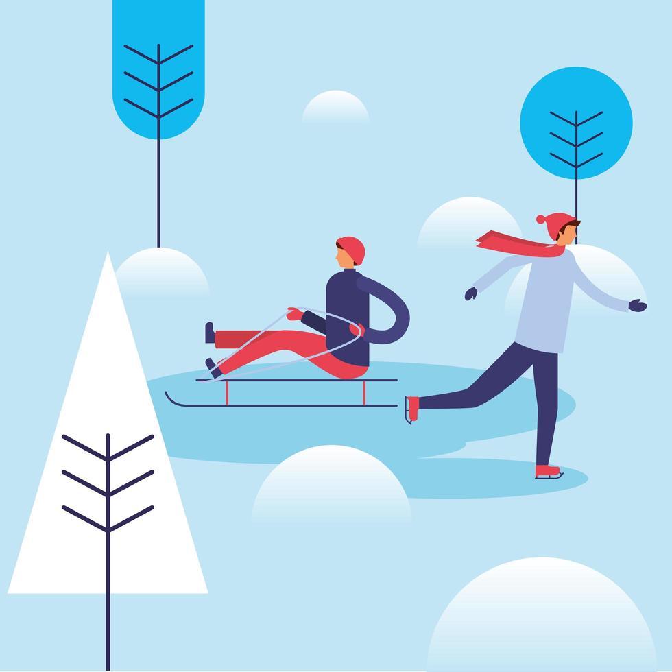 hombres en la nieve con diseño vectorial de trineo vector
