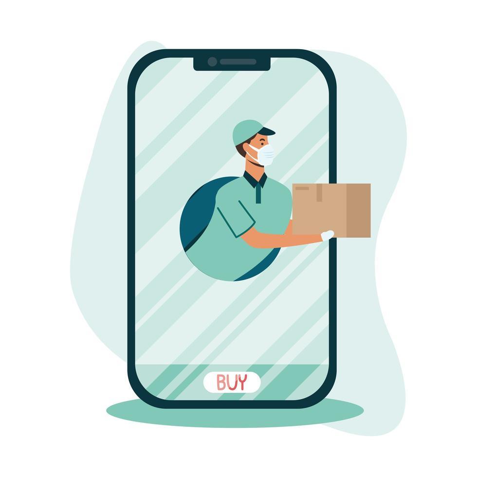 Repartidor con máscara y caja en diseño vectorial de smartphone vector