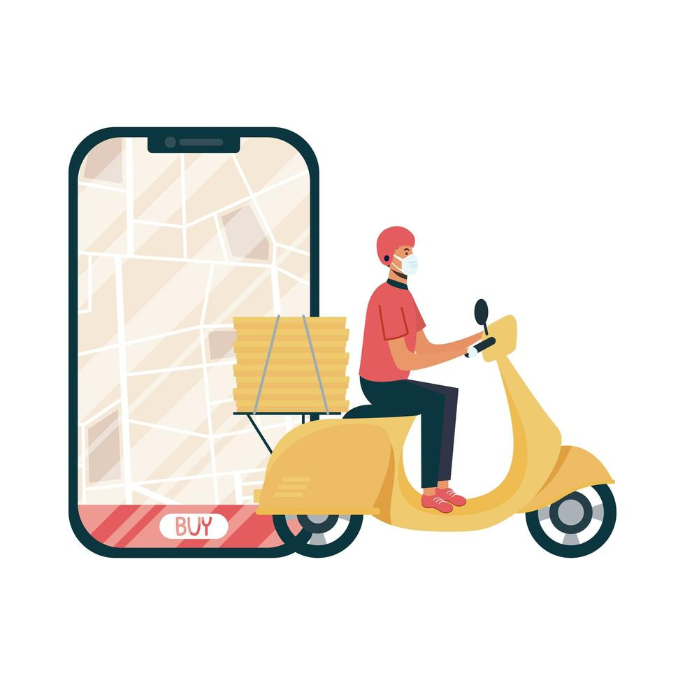 smartphone with delivery map and man with mask vector design