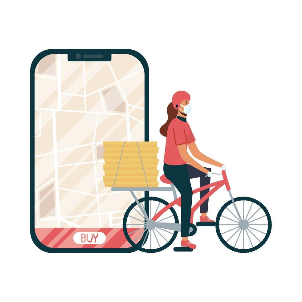 Smartphone con mapa de entrega y mujer con diseño de vector de máscara