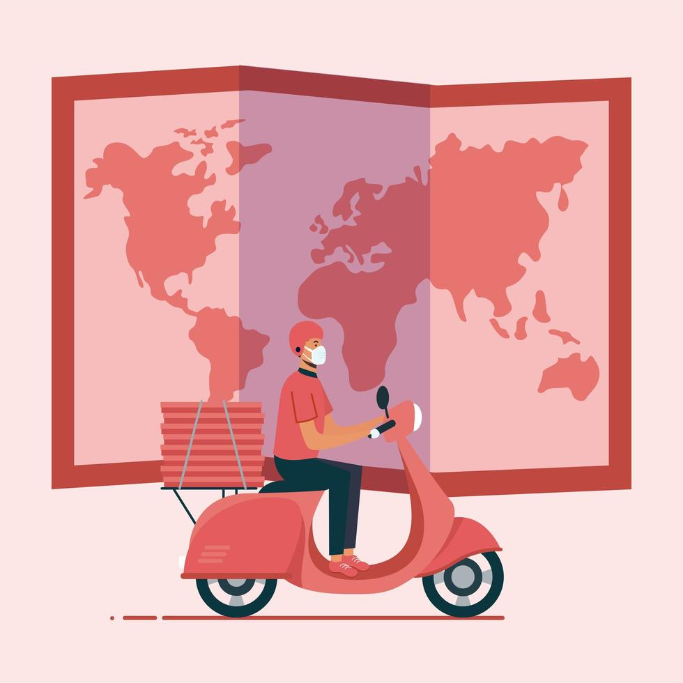 Delivery man with mask motorcycle map and boxes vector design