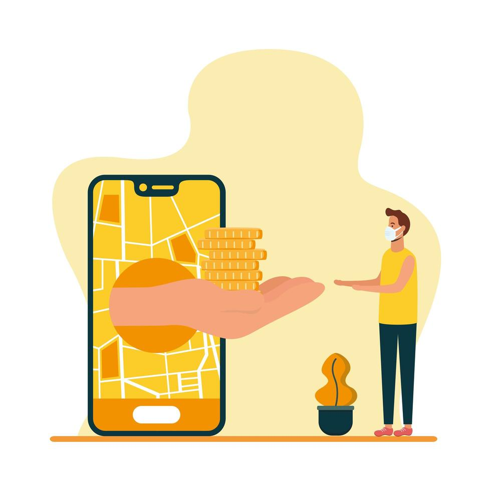 smartphone with delivery map coins and man client vector design