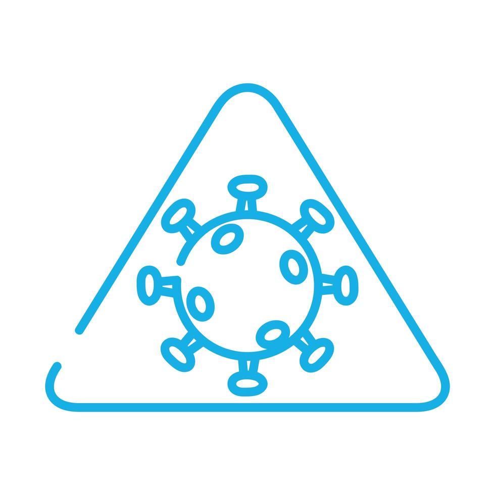 partícula de virus covid19 en estilo de línea triangular vector