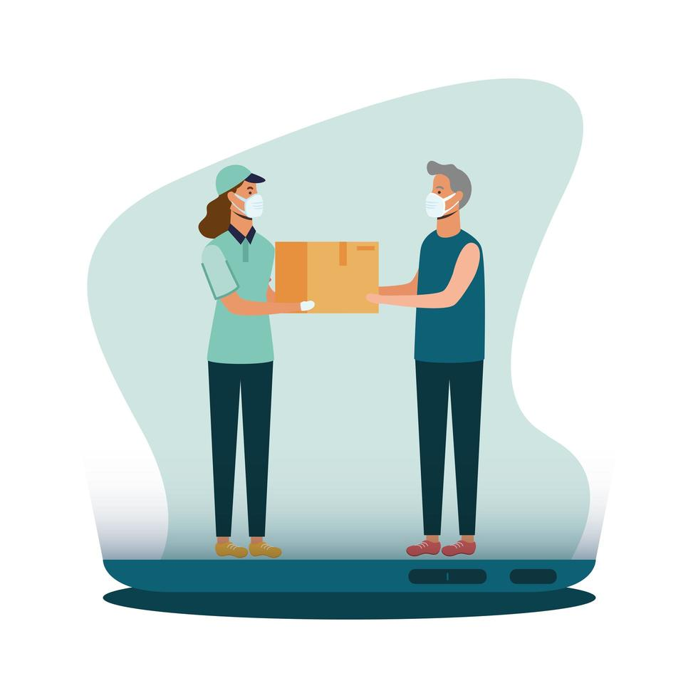 Delivery woman with mask box and client man vector design
