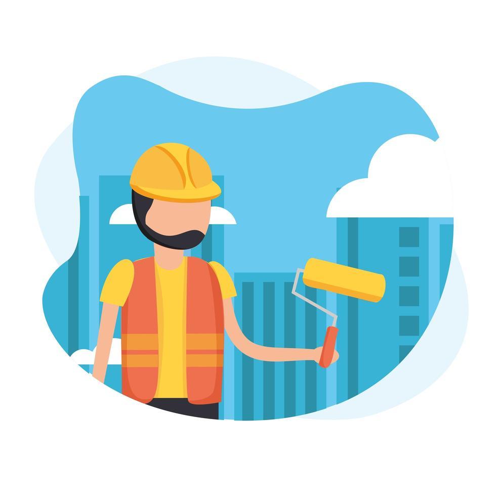 Hombre de la construcción con casco y diseño de vector de rollo de pintura