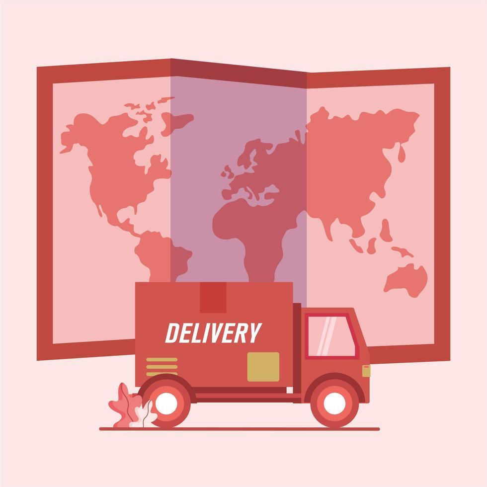 camión de reparto y diseño de vector de mapa