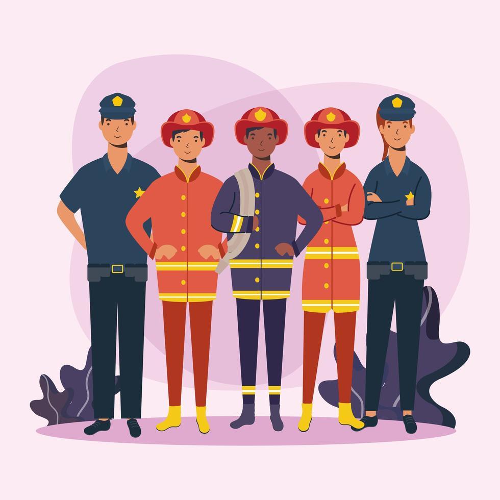 bomberos y policías hombres trabajadores diseño vectorial vector