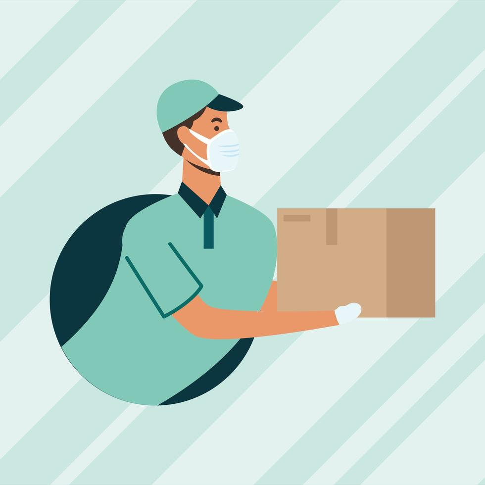 Delivery man with mask and box vector design
