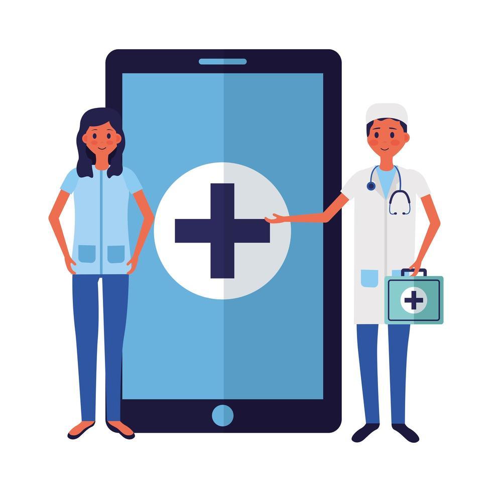 Médico femenino y masculino en línea con diseño vectorial de teléfono inteligente vector