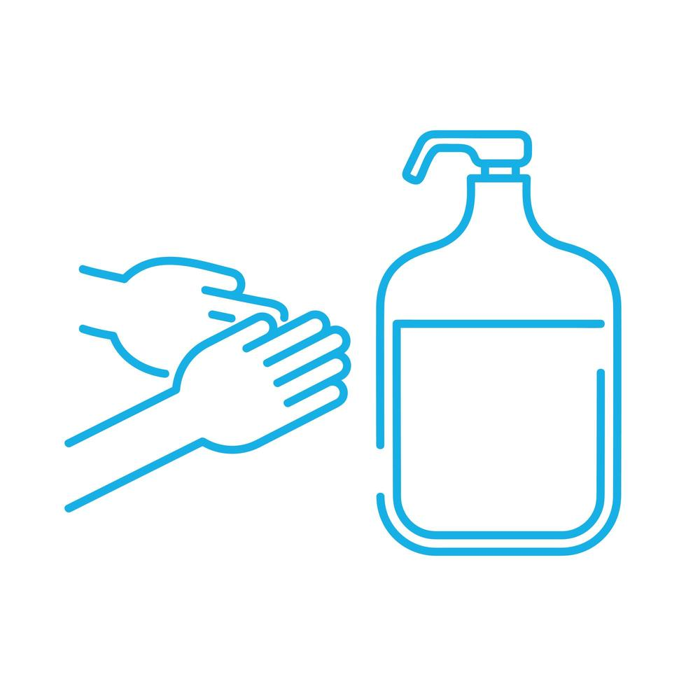 hands washing with antibacterial soap line style icon vector