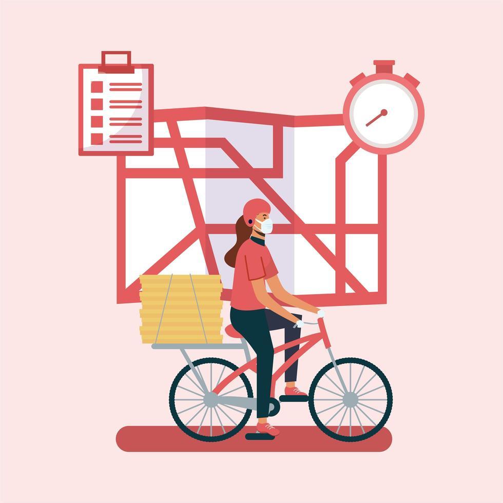 Mujer de entrega con máscara de bicicleta mapa y cajas de diseño vectorial vector