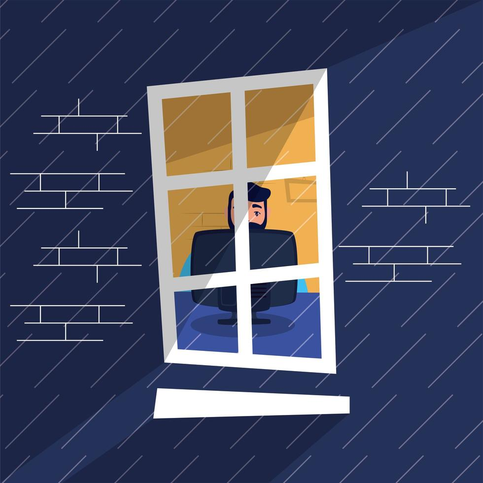man watching tv stay at home campaign vector