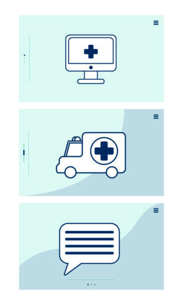 desktop with telemedicine technology and set icons vector