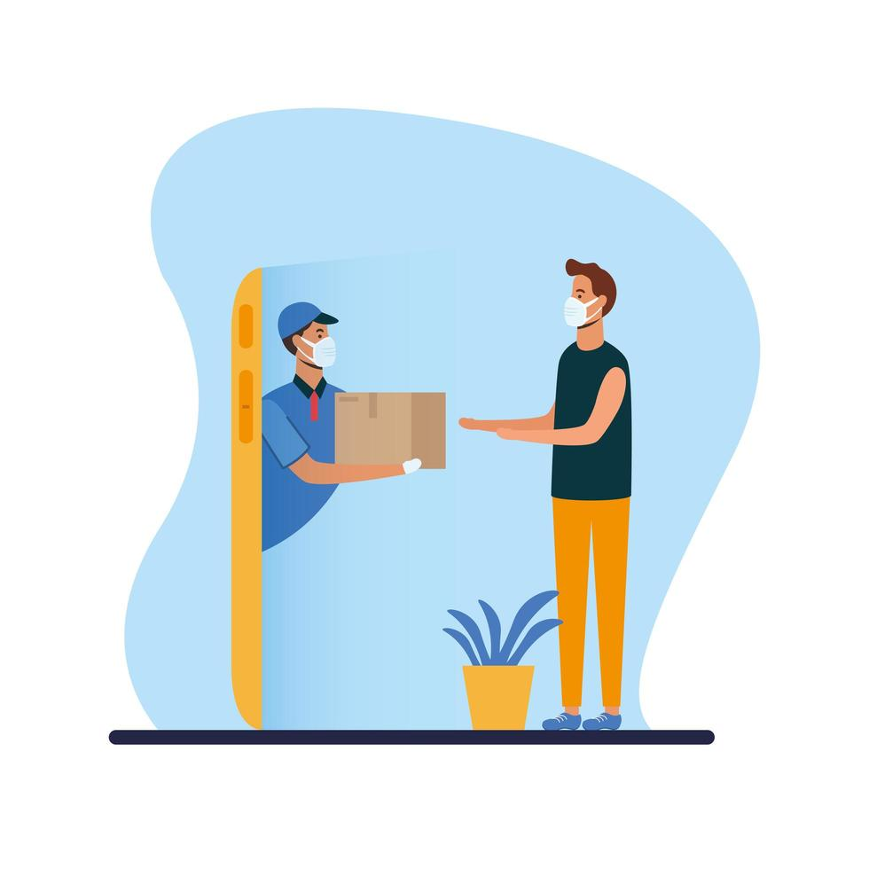 Delivery man with mask and box on smartphone with client vector design