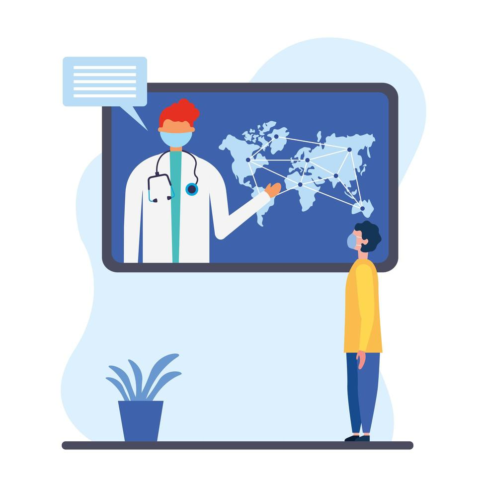 online male doctor with mask on tablet with map and man client vector design