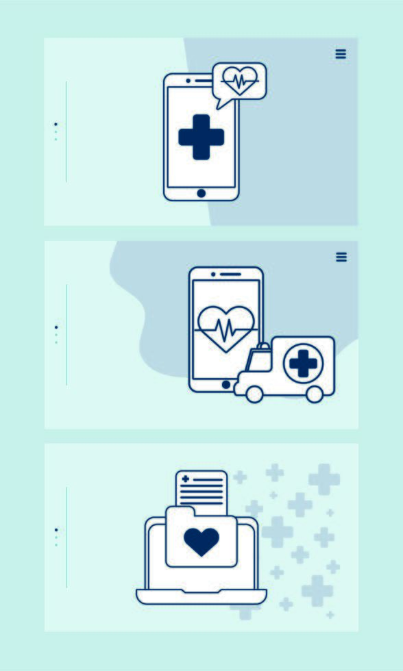 smartphone and laptop with telemedicine technology vector