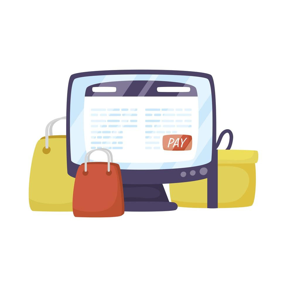 desktop with shopping bags ecommerce technology vector