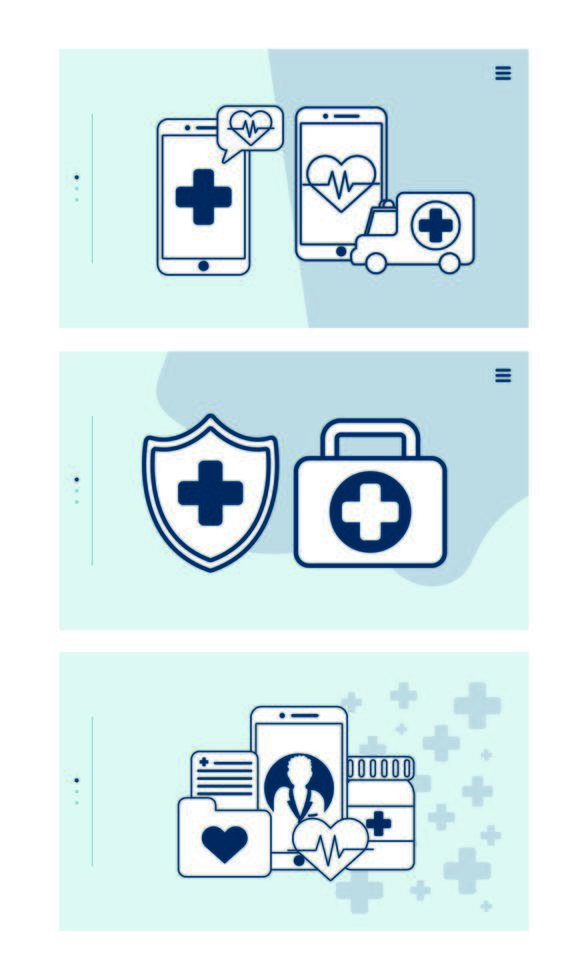 smartphone with telemedicine technology set icons vector