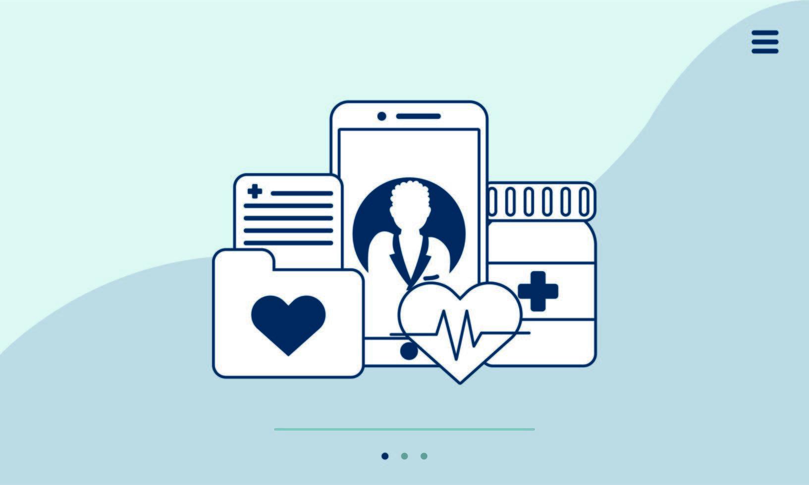 Smartphone con tecnología de telemedicina e iconos médicos. vector