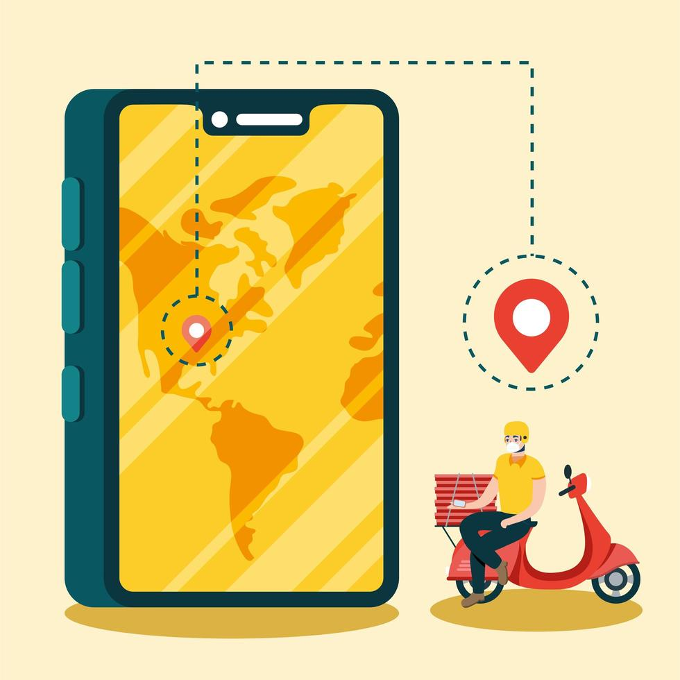 Delivery man with mask motorcycle smartphone and boxes vector design