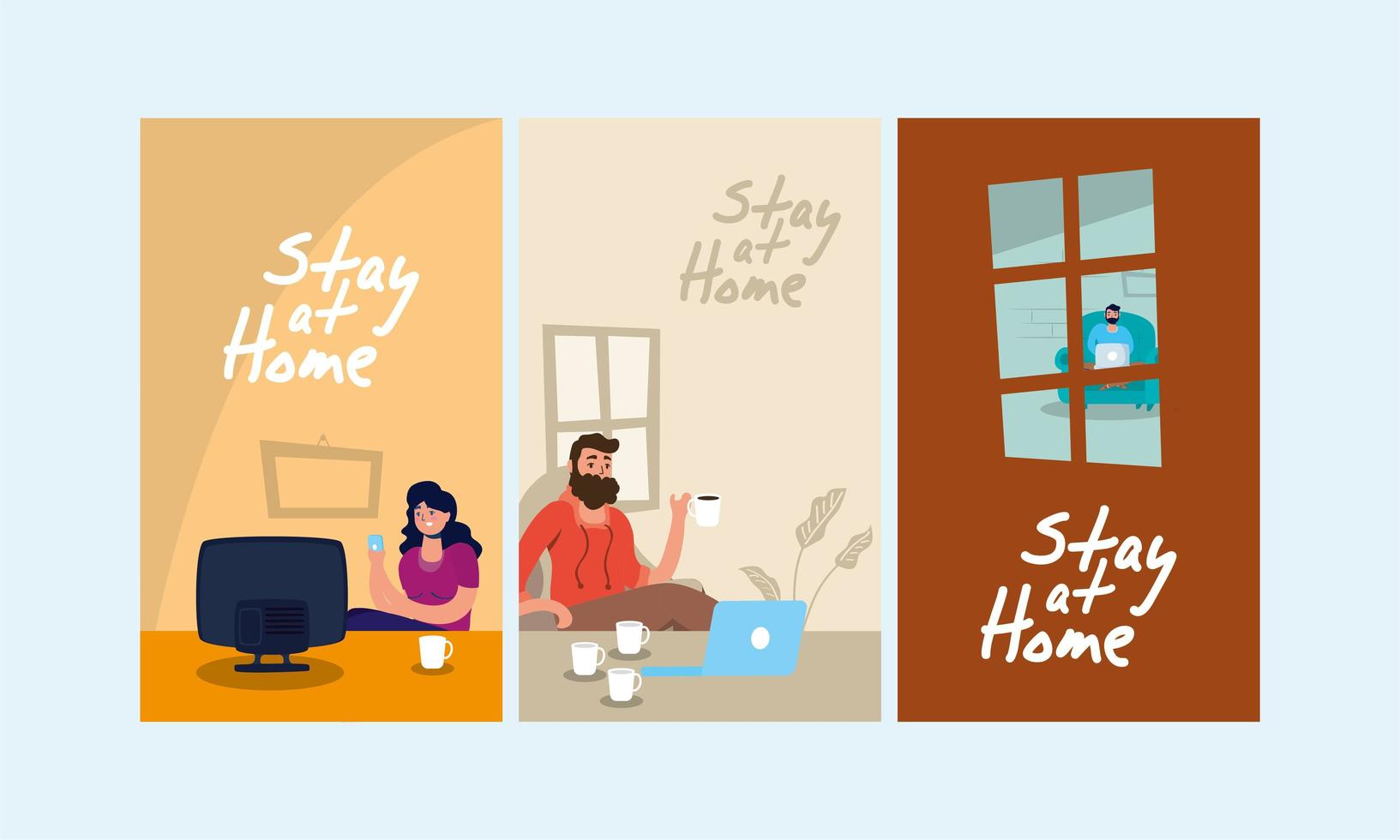 quedarse en casa escenas de la campaña vector