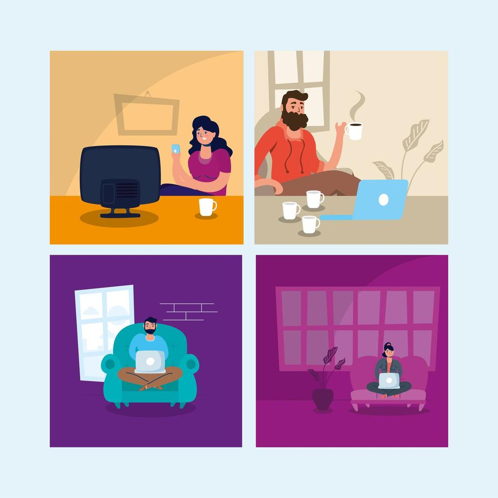 stay at home campaign set scenes vector