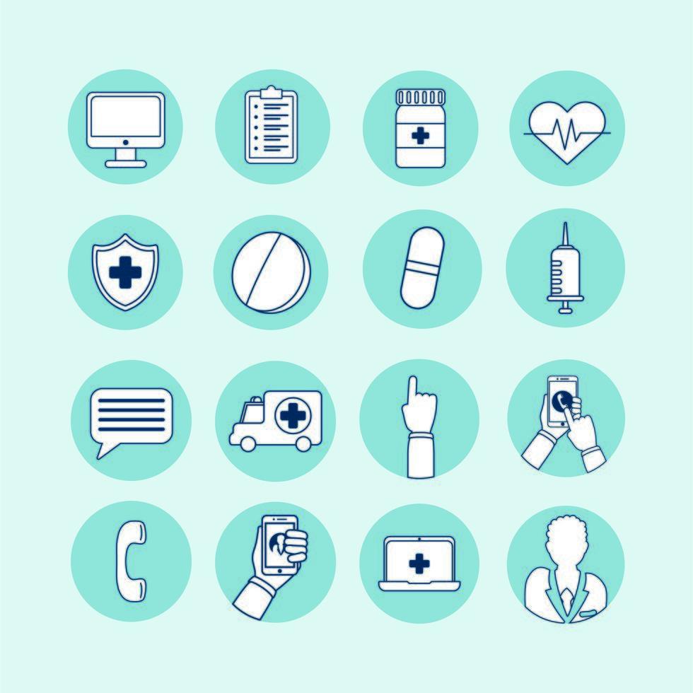 bundle of telemedicine technology set icons vector