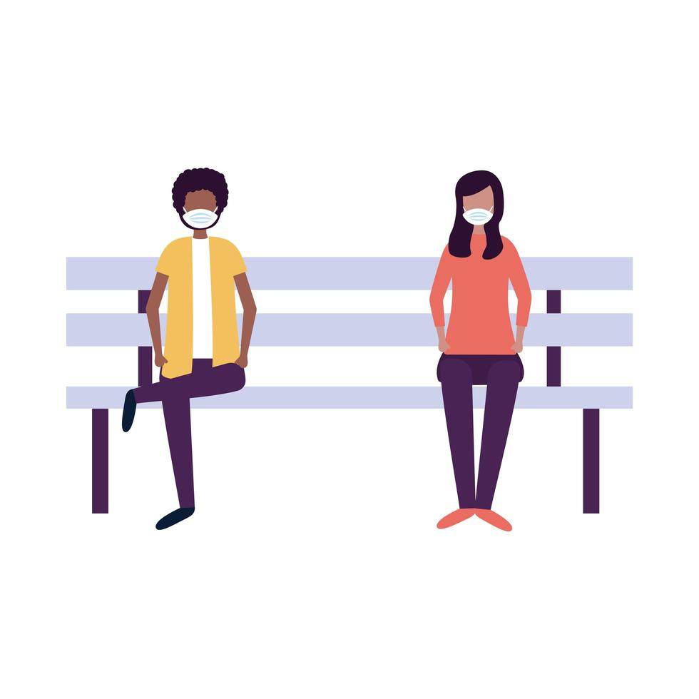 school boy and girl with medical mask on bench vector design