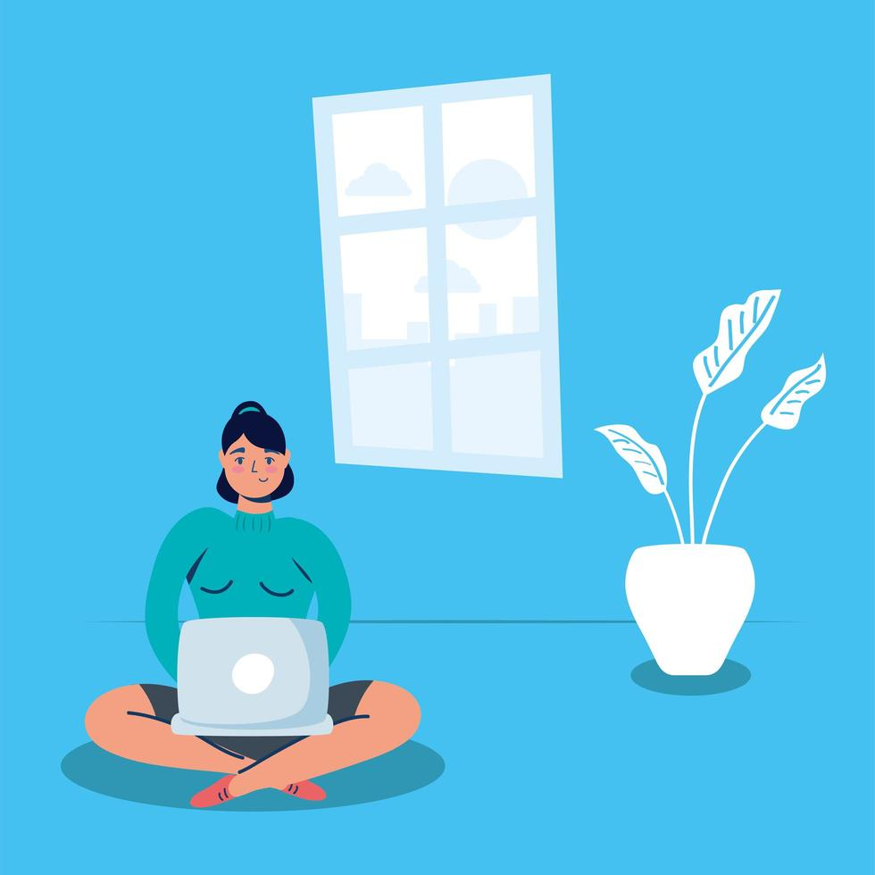 woman using laptop stay at home campaign vector