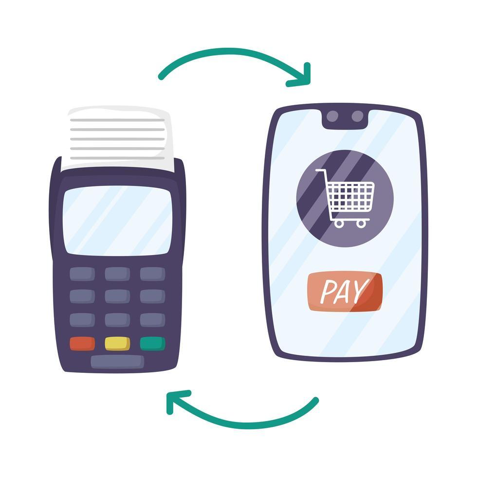 teléfono inteligente con carrito de compras y cupón vector