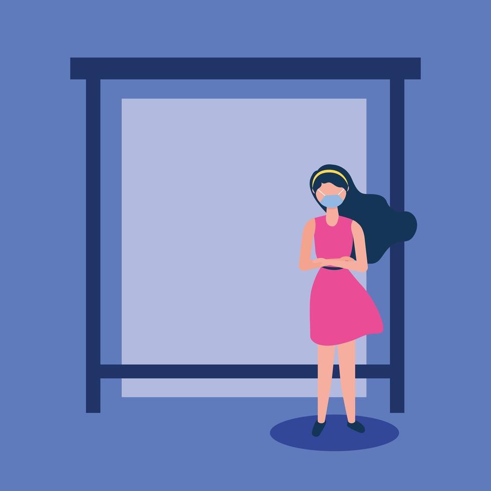Mujer con máscara médica en la estación de autobuses de diseño vectorial vector