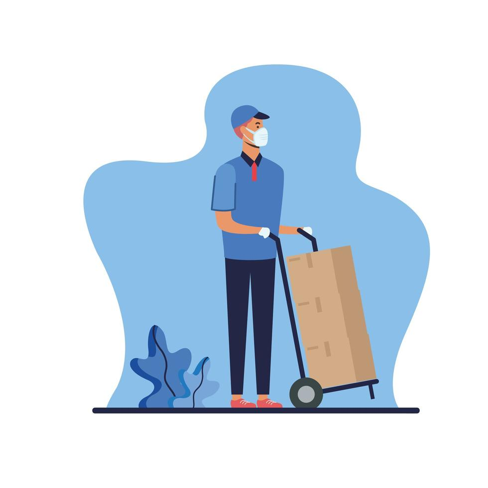 Delivery man with mask and boxes on cart vector design