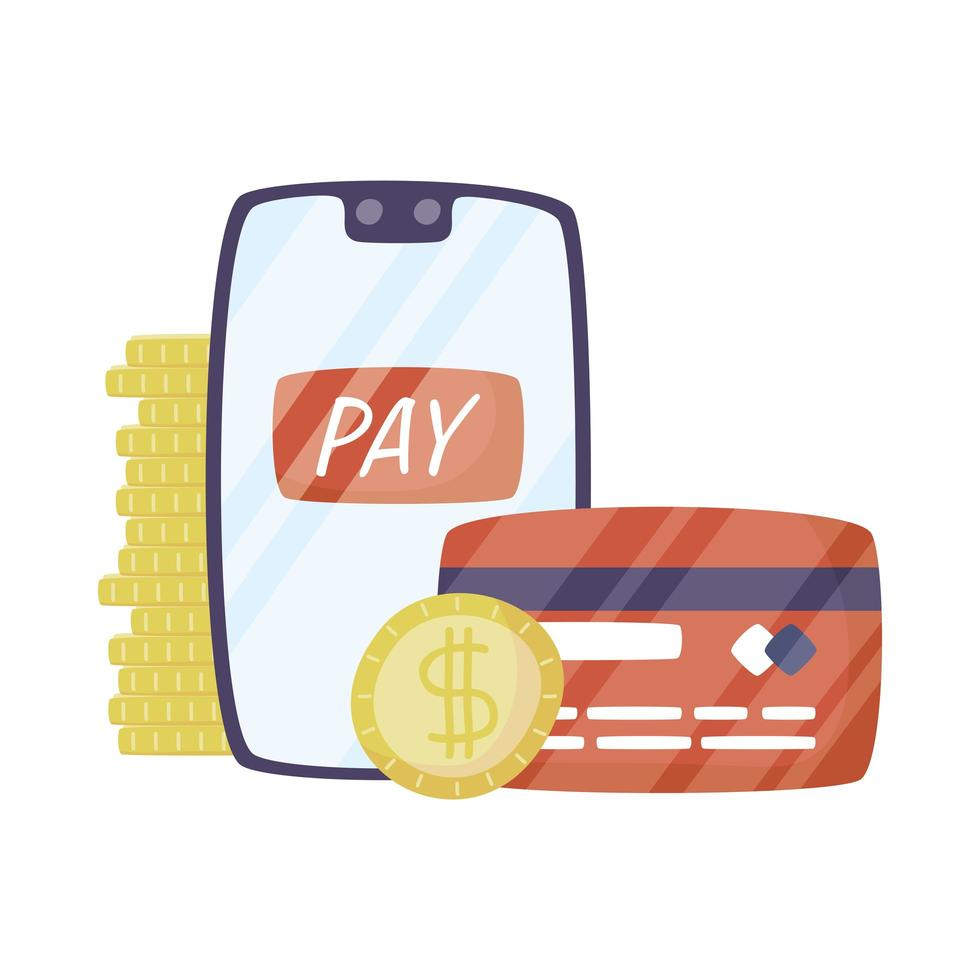 smartphone with credit card and money vector