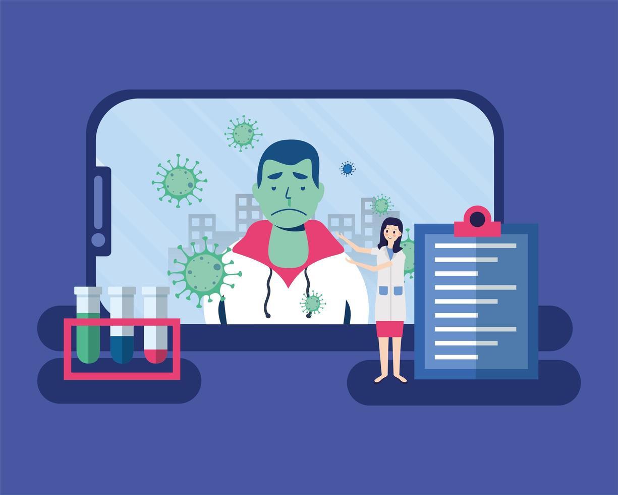 Doctora en línea y cliente enfermo en diseño vectorial de teléfono inteligente vector