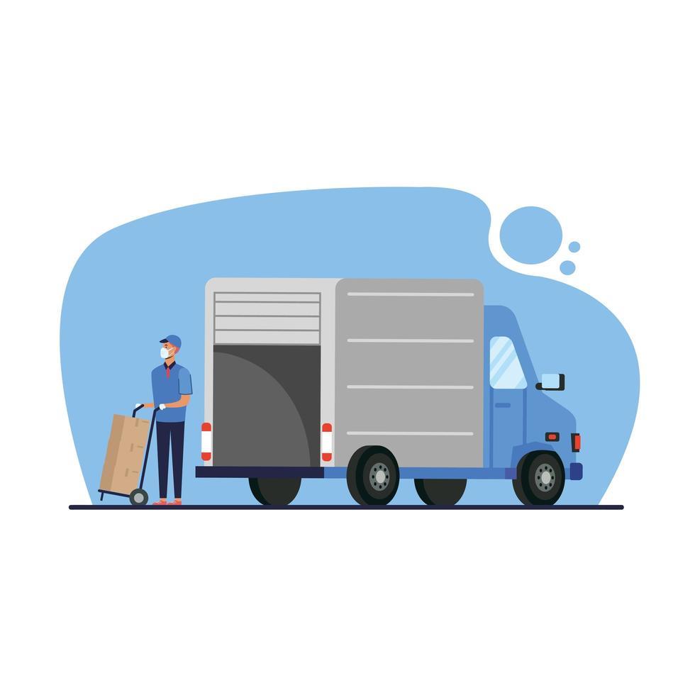 Camión de reparto y hombre con cajas en diseño vectorial de carro vector