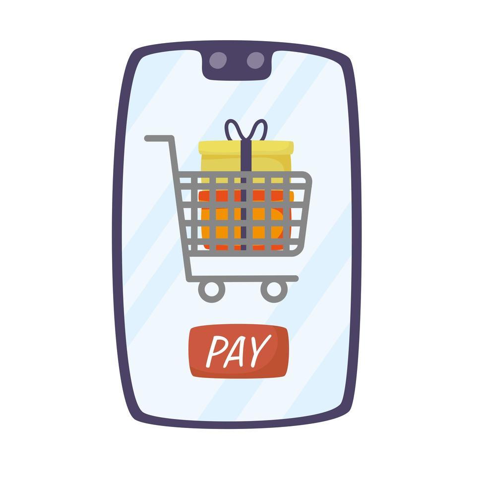 smartphone con carrito de compras y regalos. vector