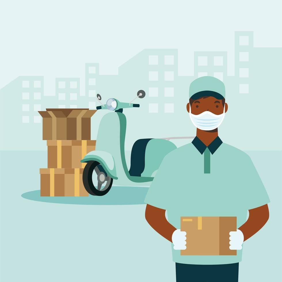 Delivery man with mask motorcycle and boxes vector design