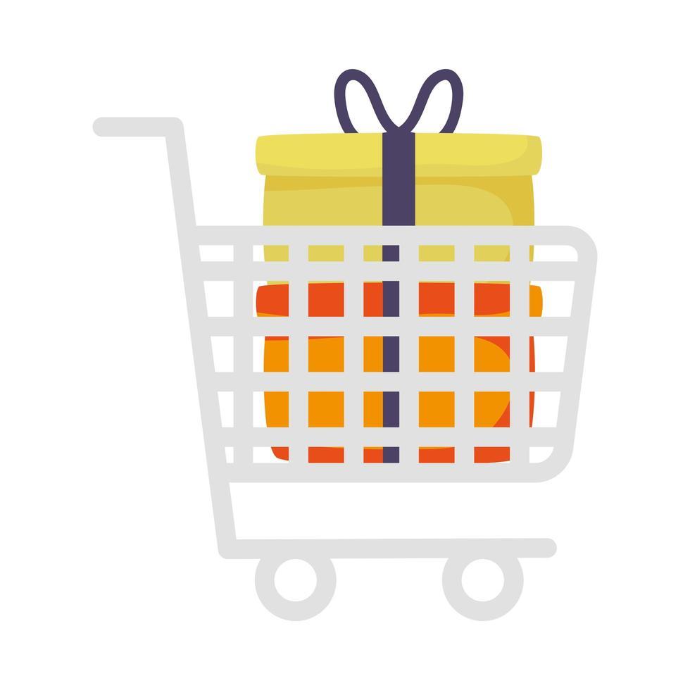 marketing de carrito de compras con regalos vector
