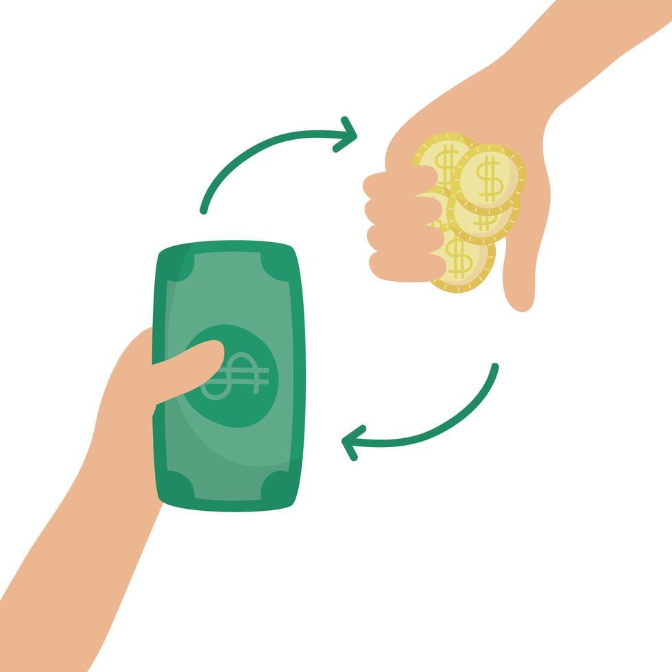 manos con billetes y monedas dinero dólares vector