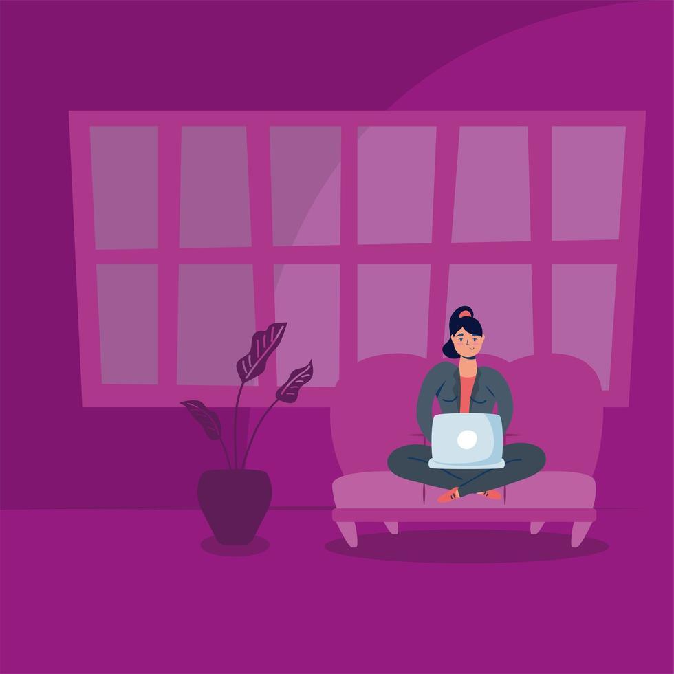 Mujer usando un portátil en el sofá campaña de estancia en casa vector