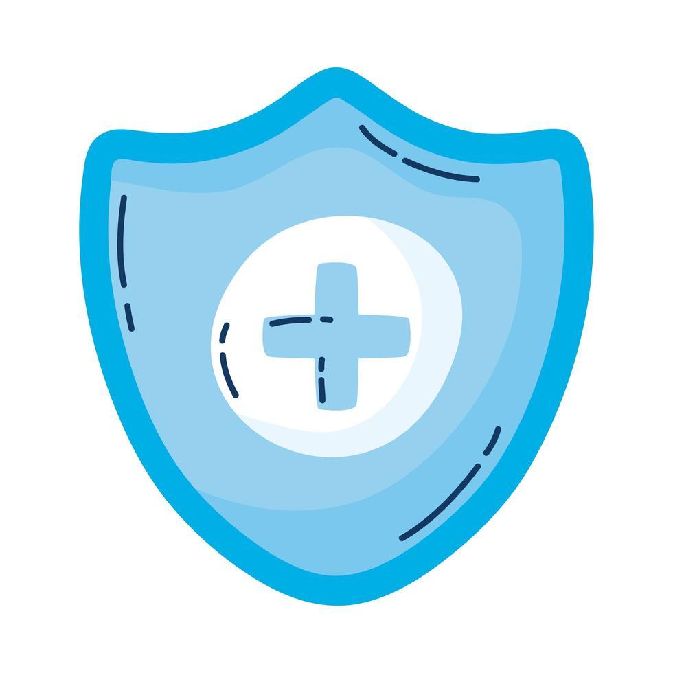 Cruz médica en escudo icono aislado vector