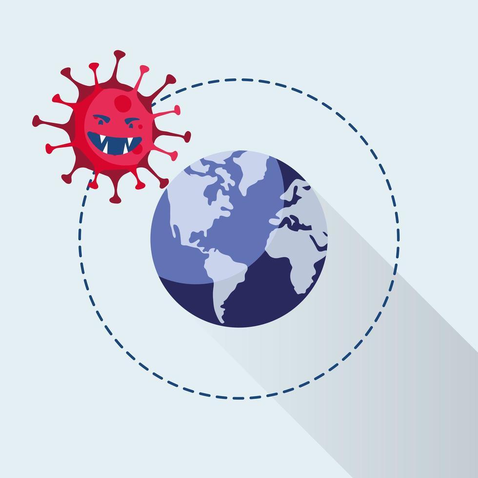 partícula pandémica covid19 con mundo planeta tierra vector