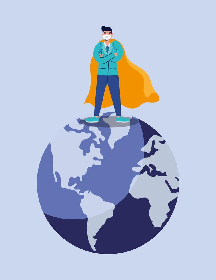 Doctor héroe con mascarilla en el planeta tierra vector