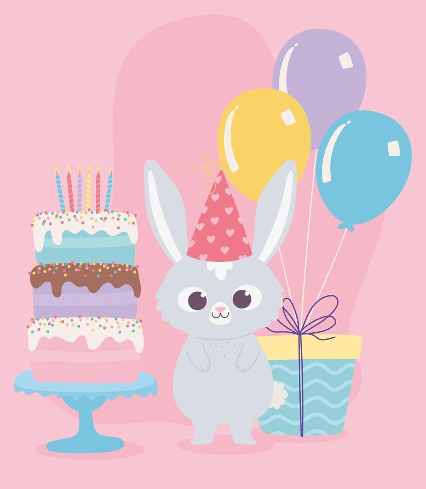 Feliz cumpleaños, lindo pastel de conejo con velas, regalo y globos, decoración de celebración, dibujos animados vector
