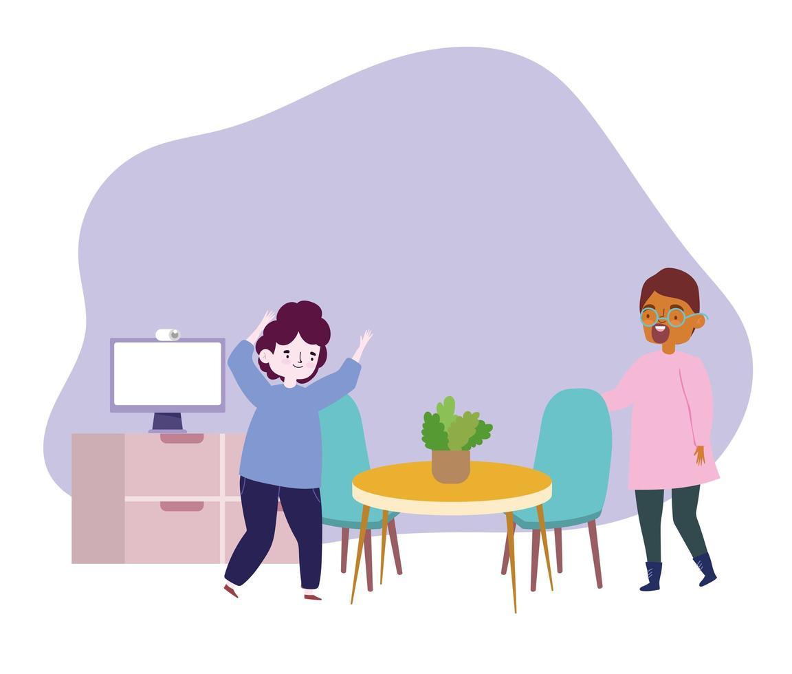 fiesta en línea, reunión con amigos, hombres jóvenes en la habitación con la computadora celebrando vector