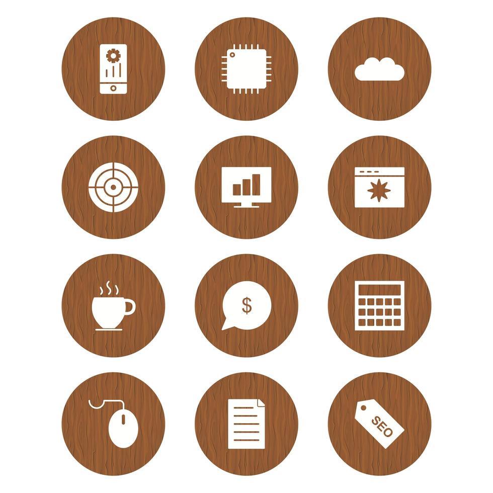 conjunto de iconos de optimización de motores de búsqueda para uso personal y comercial ... vector
