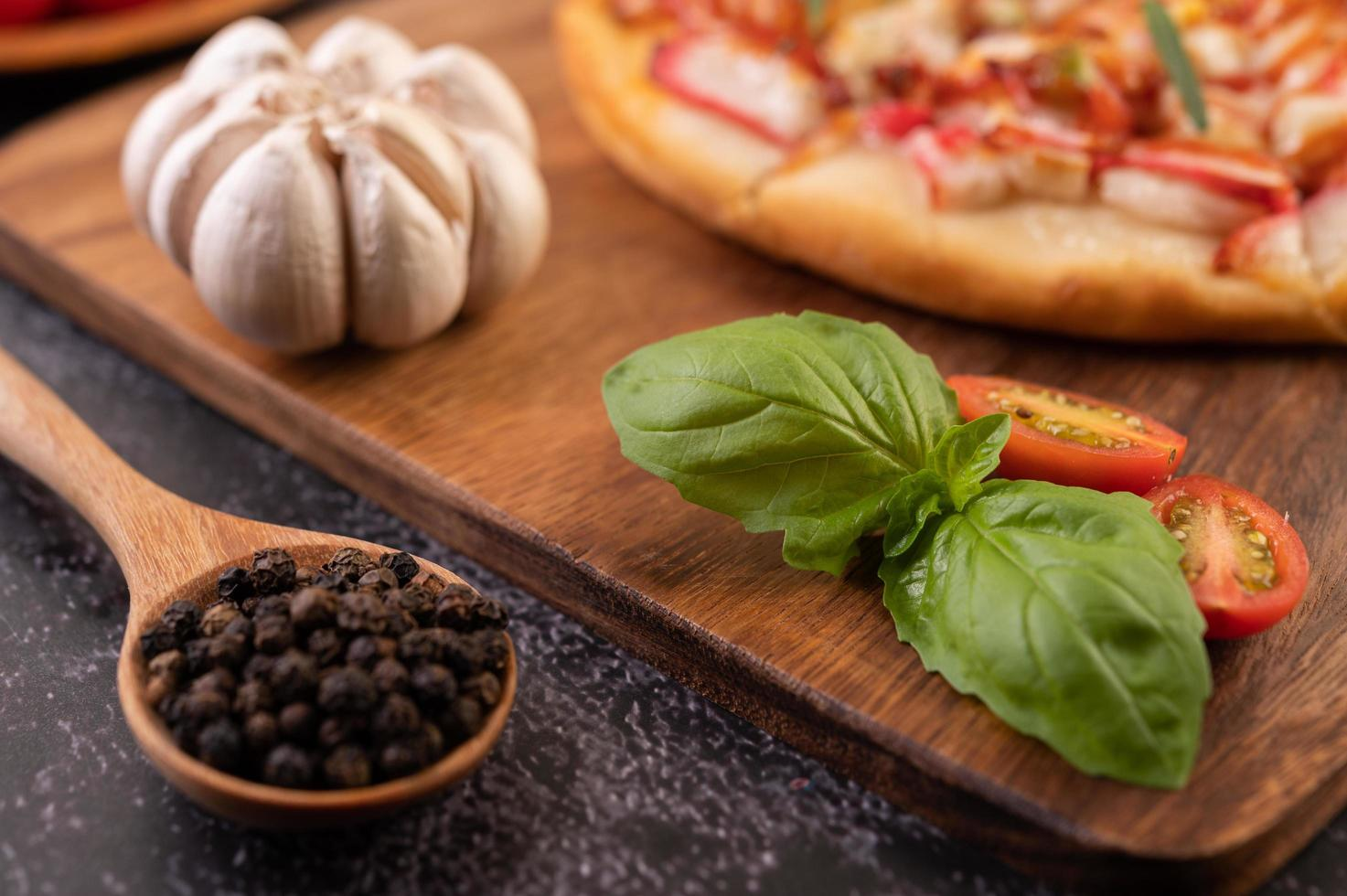 primer plano, de, pimiento, semillas, y, pizza foto