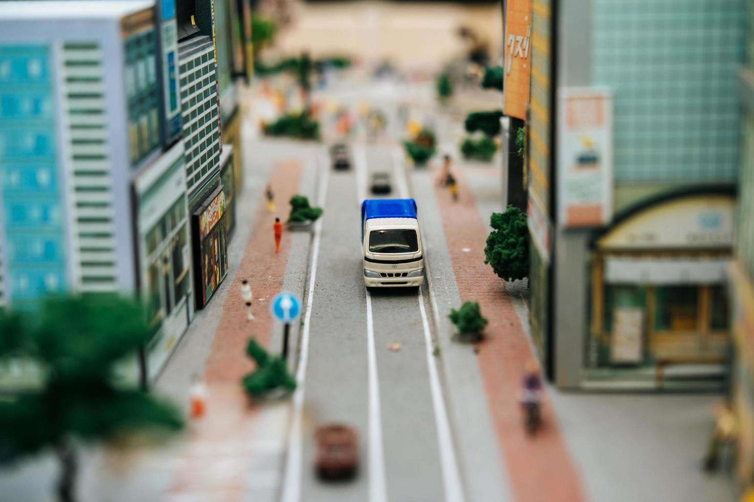 Close-up of small car models photo