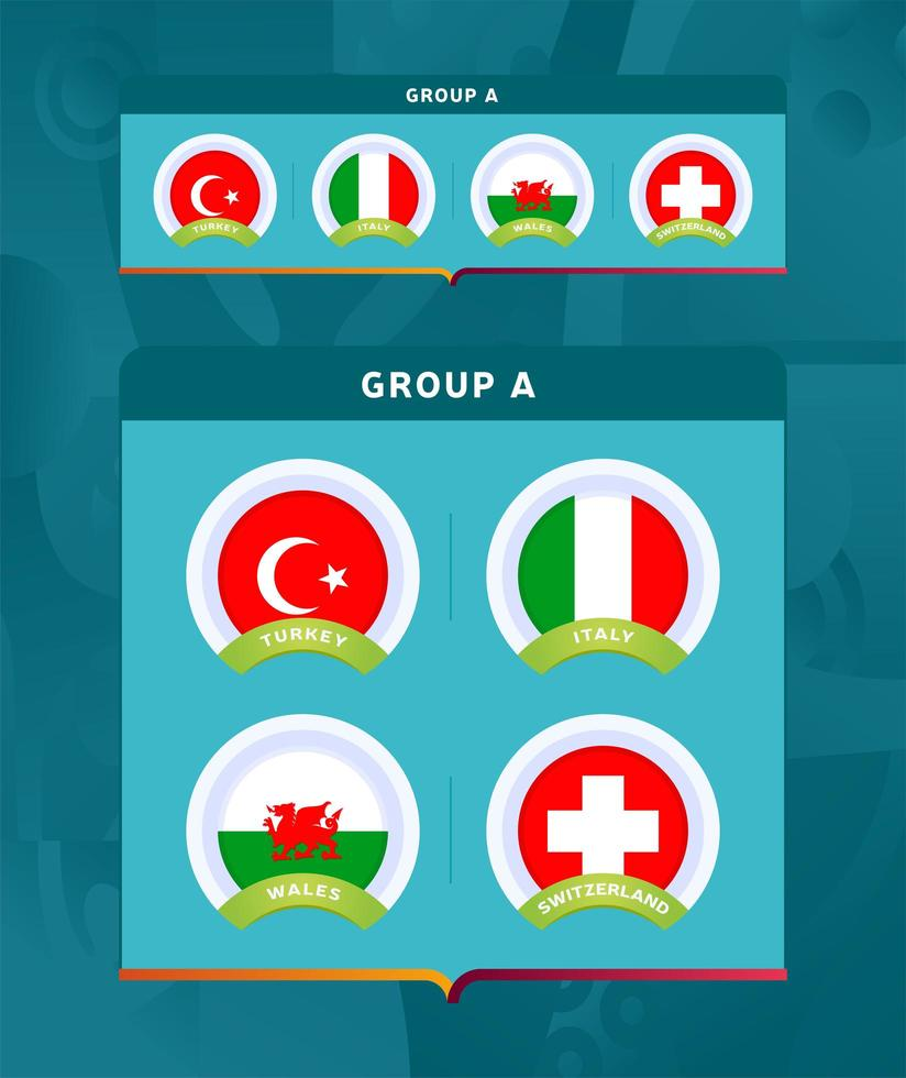 Football 2020 tournament final stage group A vector