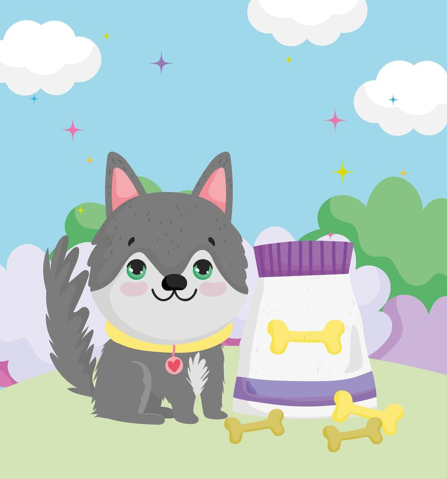 little dog sitting with collar food and bones pets vector